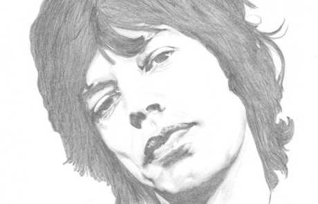 Mick Jagger pencil drawing by Carl Seager
