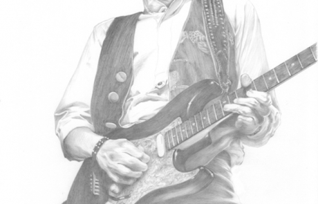 Scott Gorham pencil drawing by Carl Seager