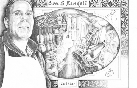 The Luthier, pencil drawing by Carl Seager